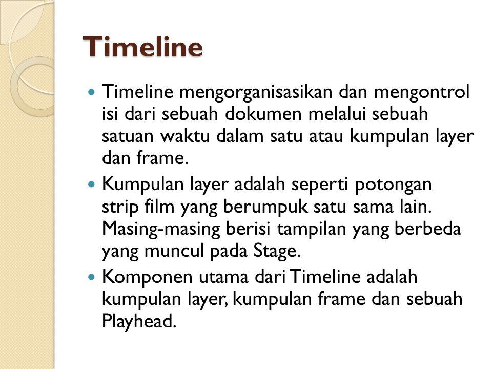 Timeline Timeline mengorganisasikan dan mengontrol isi dari sebuah dokumen melalui sebuah satuan waktu dalam satu atau kumpulan layer dan frame.