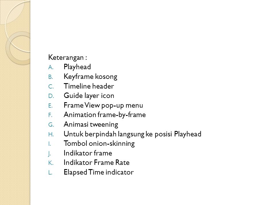 Keterangan : Playhead. Keyframe kosong. Timeline header. Guide layer icon. Frame View pop‑up menu.