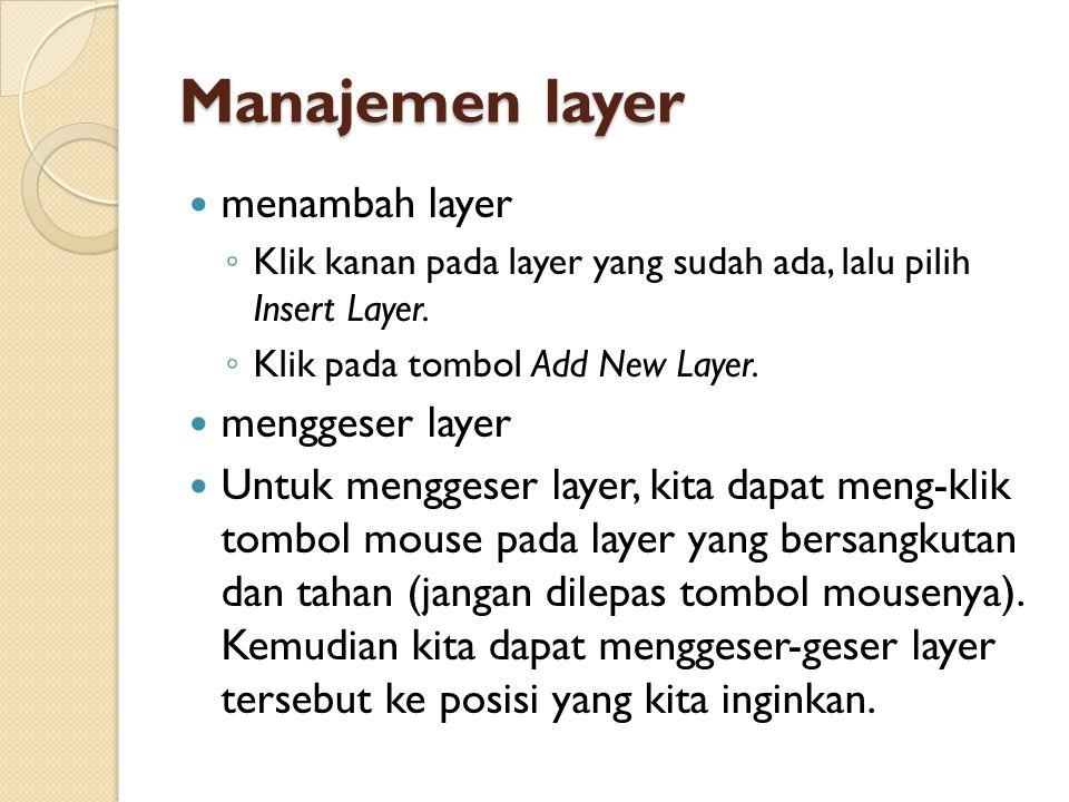 Manajemen layer menambah layer menggeser layer
