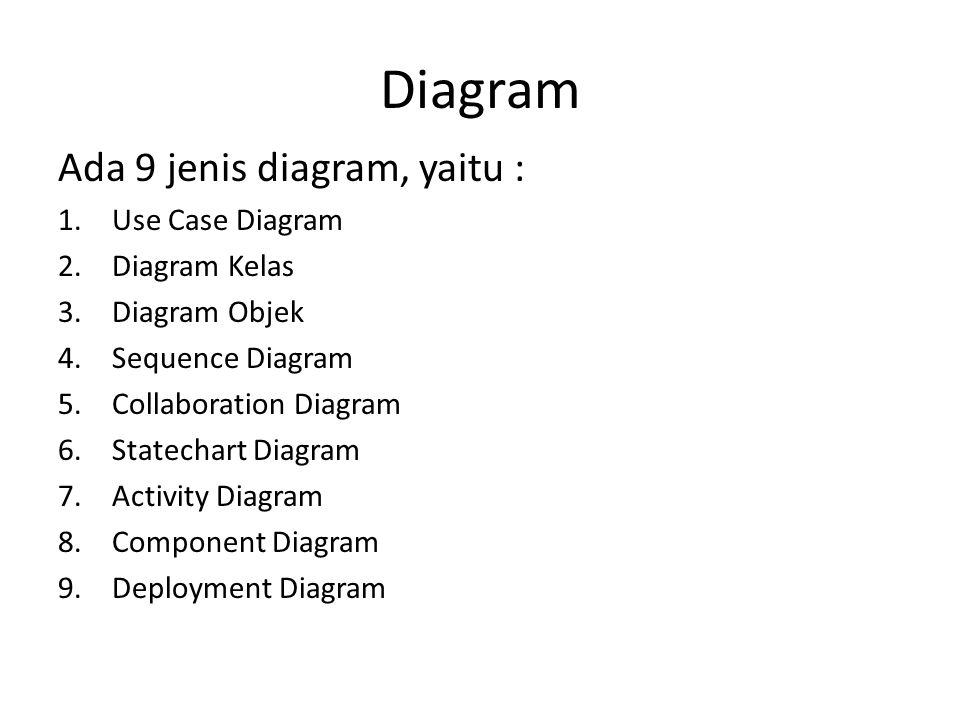Diagram Ada 9 jenis diagram, yaitu : Use Case Diagram Diagram Kelas