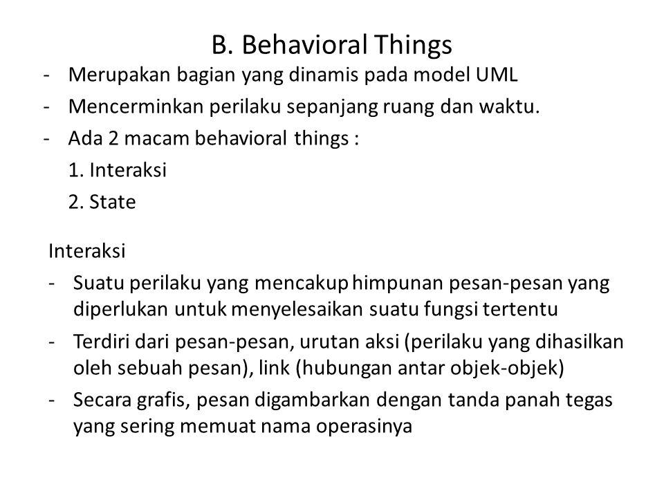 B. Behavioral Things Merupakan bagian yang dinamis pada model UML