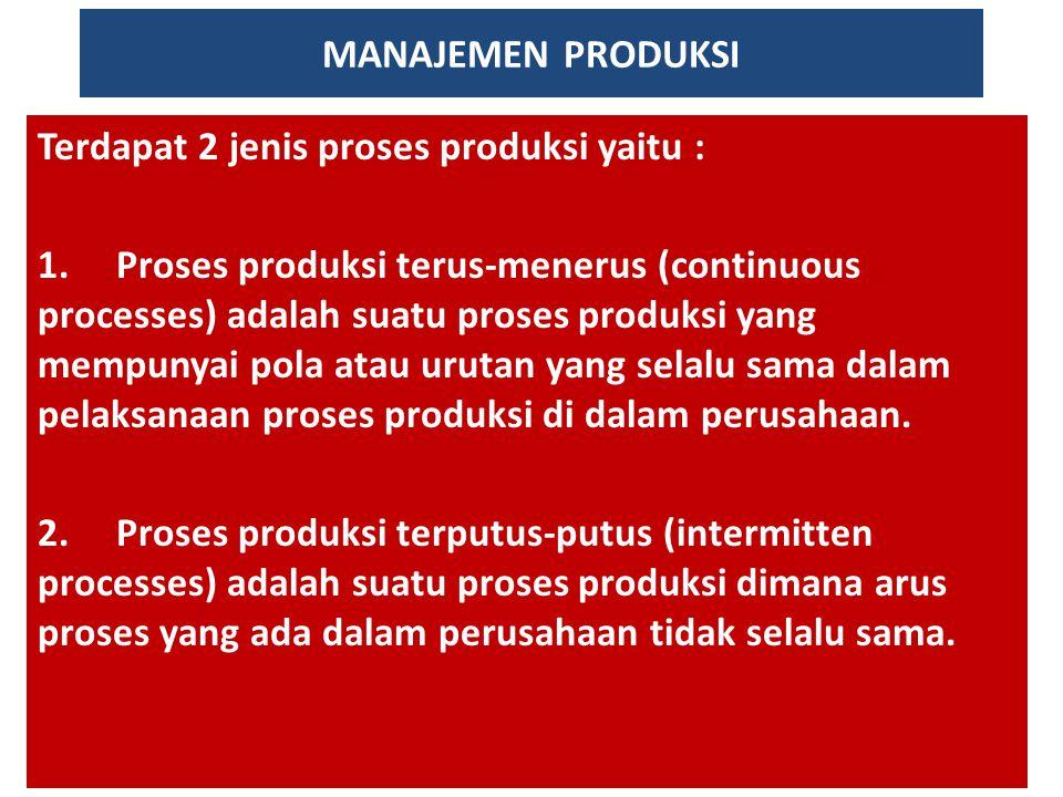 MANAJEMEN PRODUKSI Terdapat 2 jenis proses produksi yaitu :