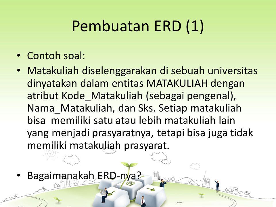 Pembuatan ERD (1) Contoh soal:
