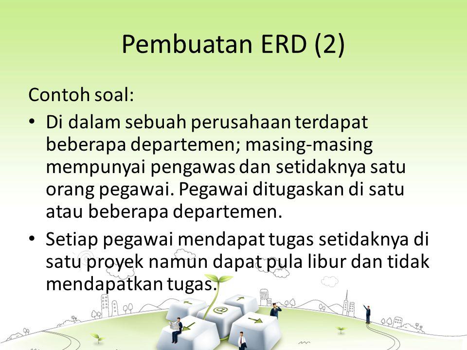 Pembuatan ERD (2) Contoh soal: