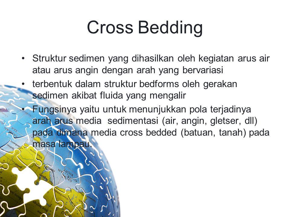 Cross Bedding Struktur sedimen yang dihasilkan oleh kegiatan arus air atau arus angin dengan arah yang bervariasi.