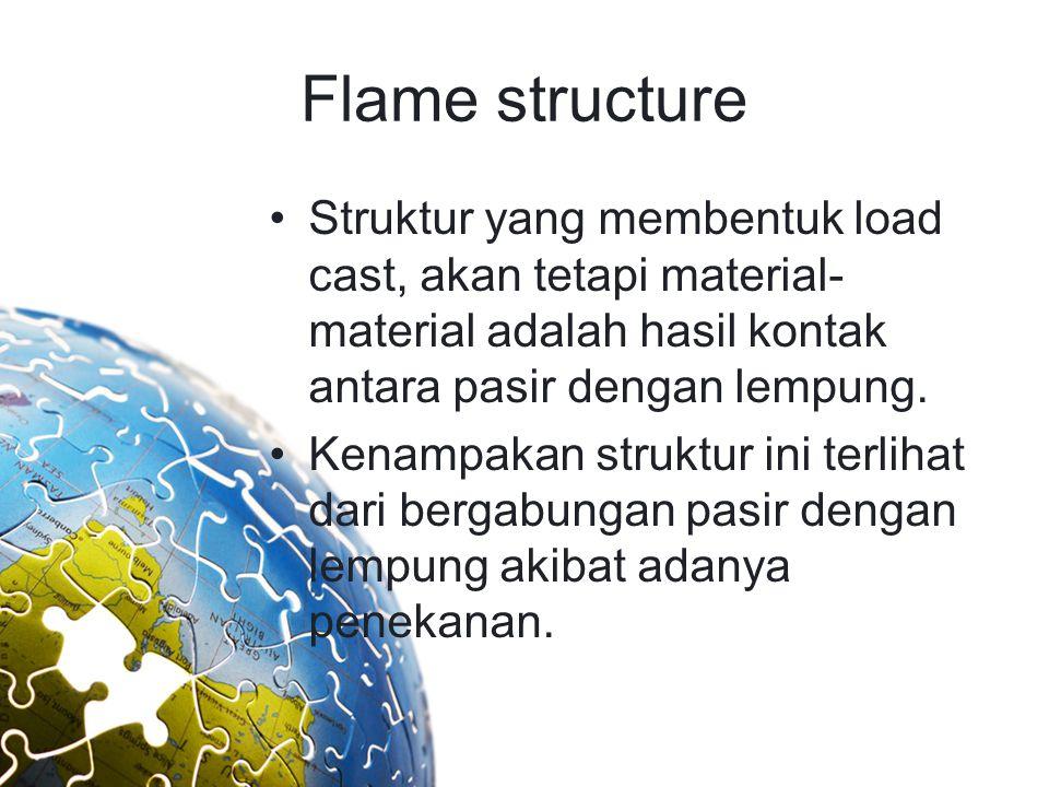 Flame structure Struktur yang membentuk load cast, akan tetapi material-material adalah hasil kontak antara pasir dengan lempung.