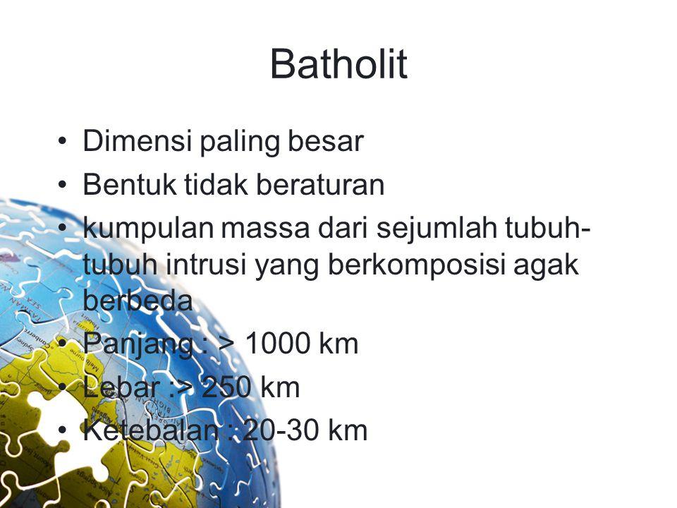 Batholit Dimensi paling besar Bentuk tidak beraturan