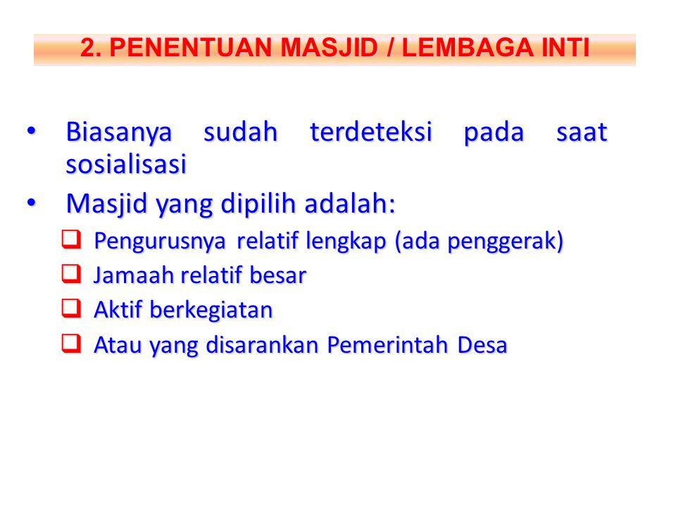 2. PENENTUAN MASJID / LEMBAGA INTI