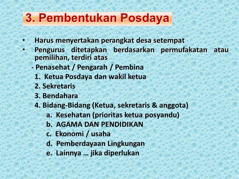 3. Pembentukan Posdaya Harus menyertakan perangkat desa setempat
