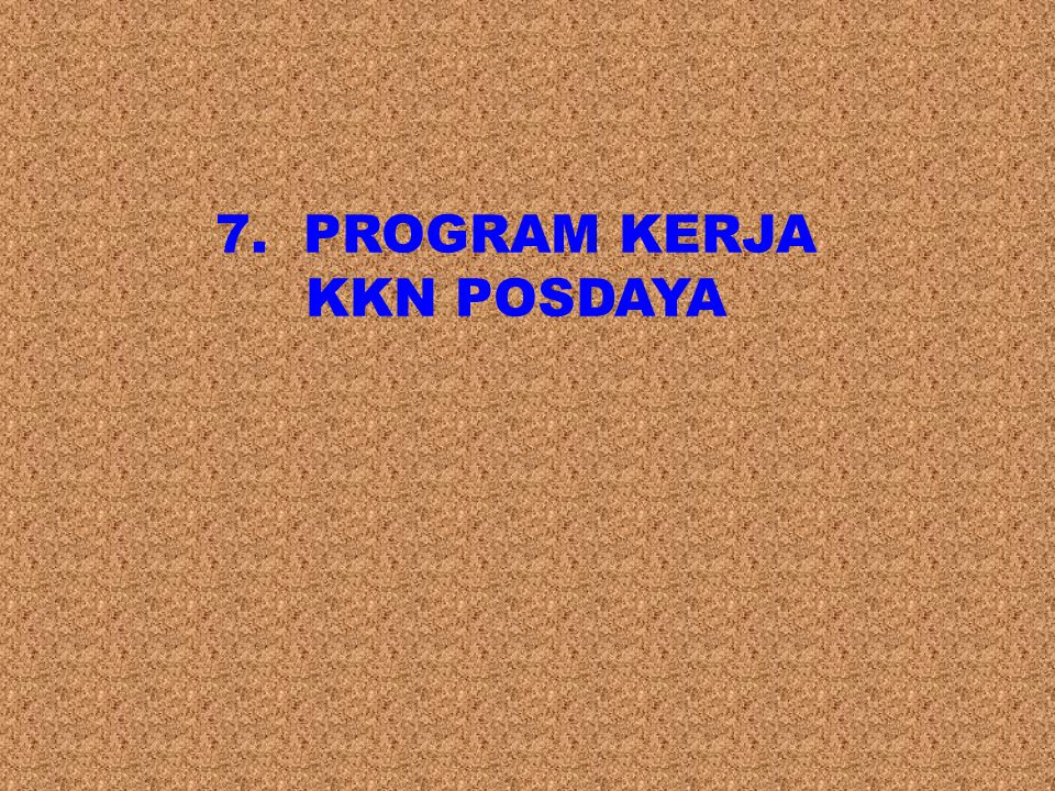 7. PROGRAM KERJA KKN POSDAYA