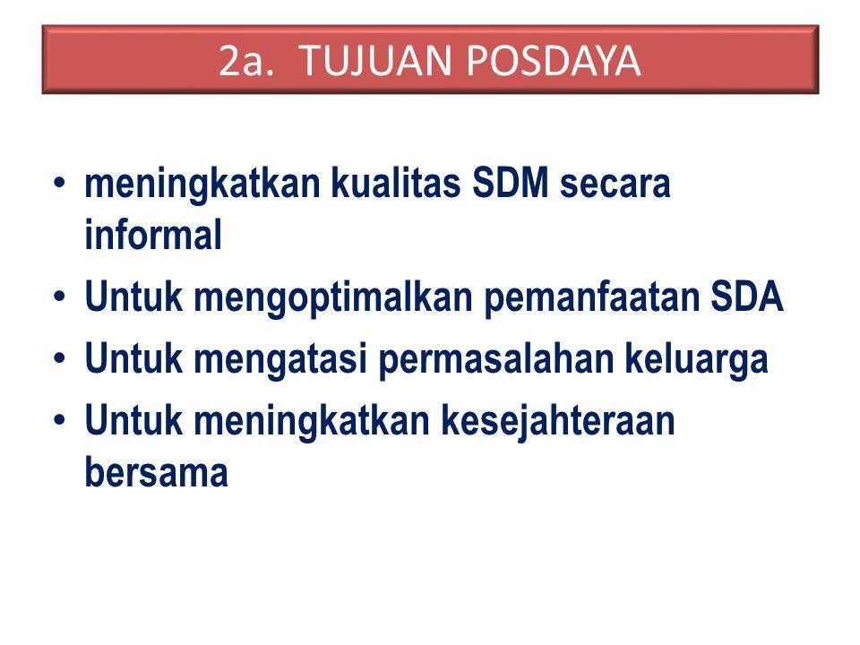 2a. TUJUAN POSDAYA meningkatkan kualitas SDM secara informal