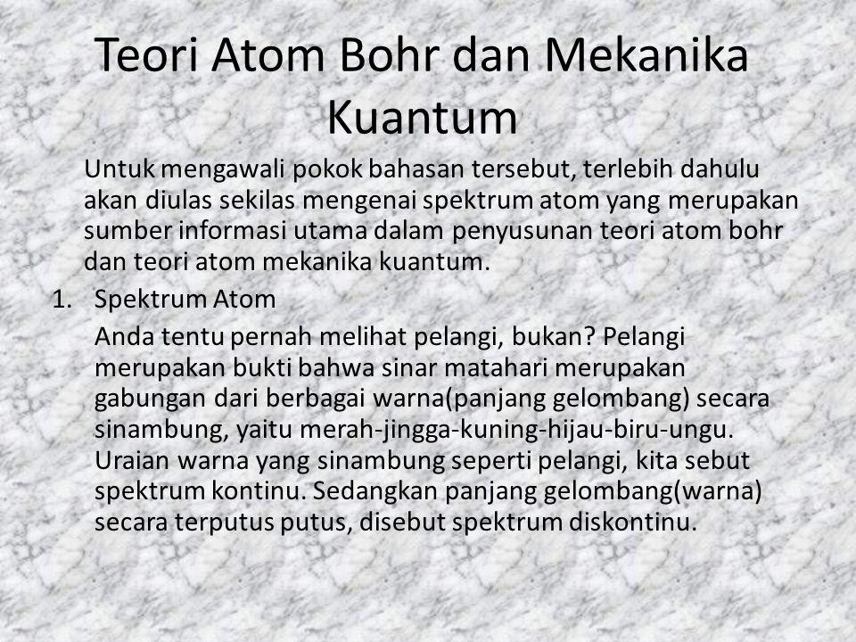 Teori Atom Bohr dan Mekanika Kuantum