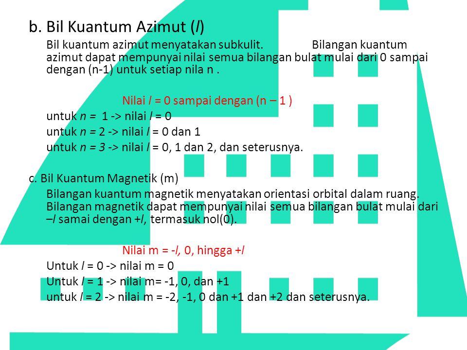 b. Bil Kuantum Azimut (l)
