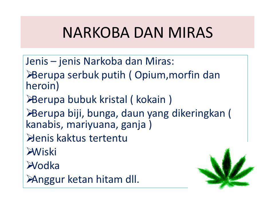 NARKOBA DAN MIRAS Jenis – jenis Narkoba dan Miras: