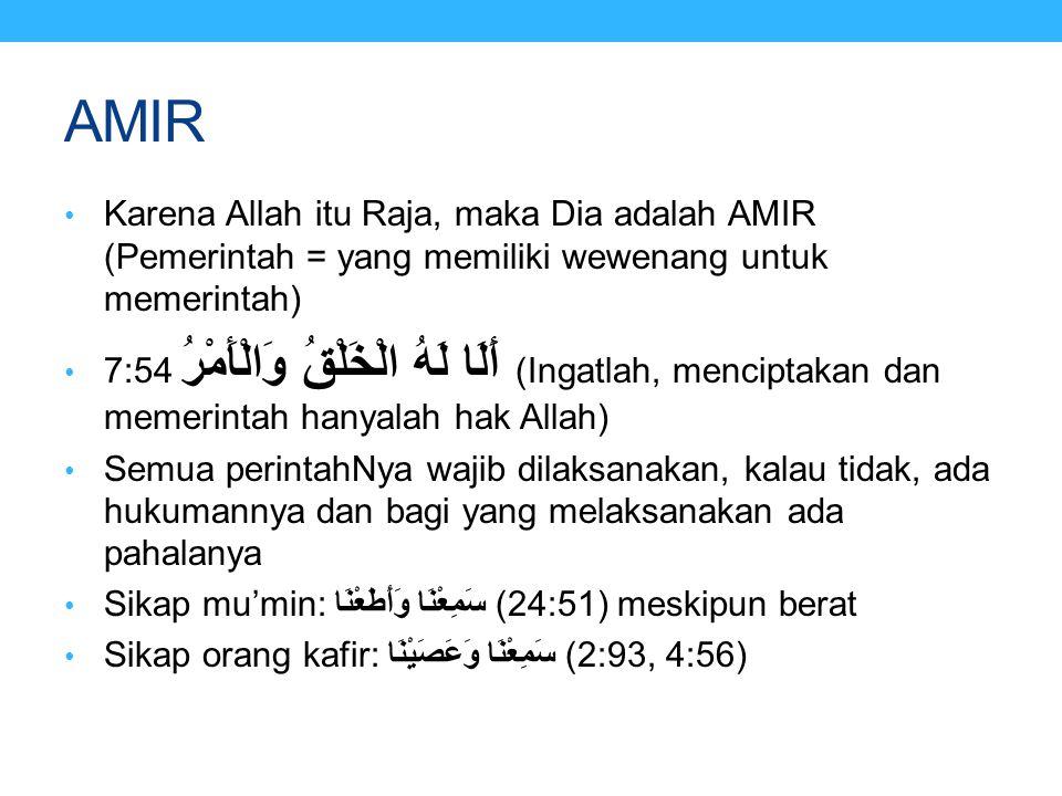 AMIR Karena Allah itu Raja, maka Dia adalah AMIR (Pemerintah = yang memiliki wewenang untuk memerintah)