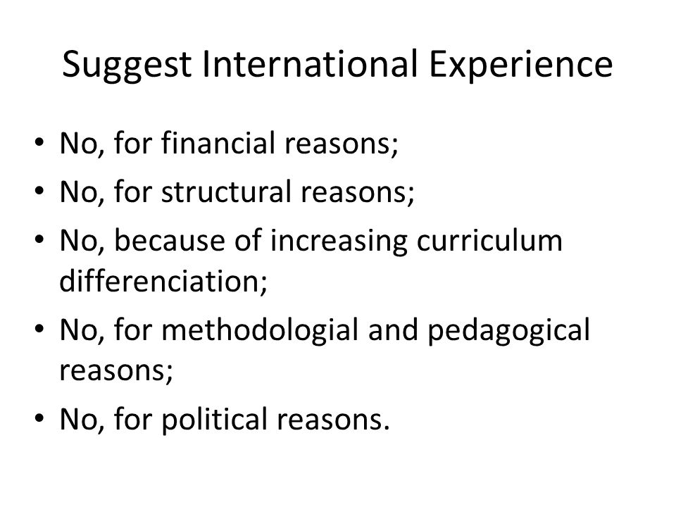 Suggest International Experience