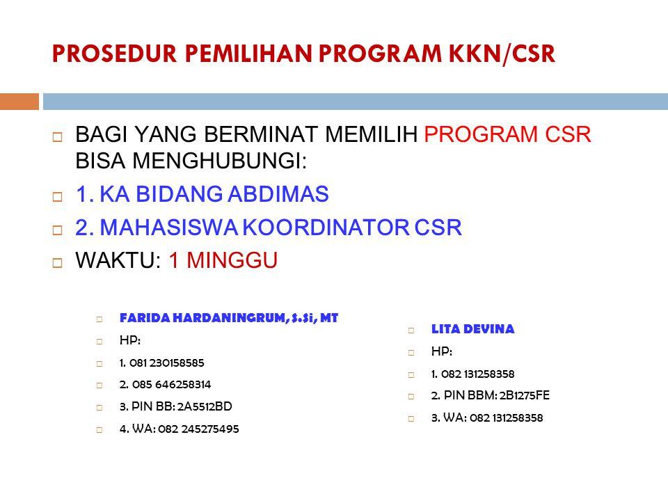 PROSEDUR PEMILIHAN PROGRAM KKN/CSR
