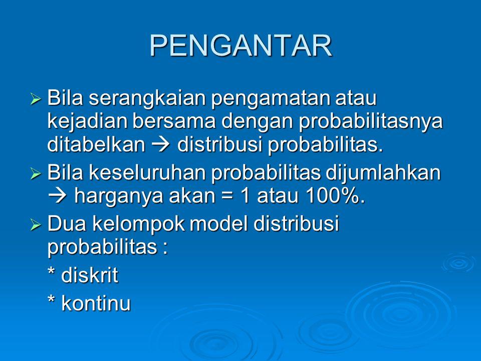 PENGANTAR Bila serangkaian pengamatan atau kejadian bersama dengan probabilitasnya ditabelkan  distribusi probabilitas.
