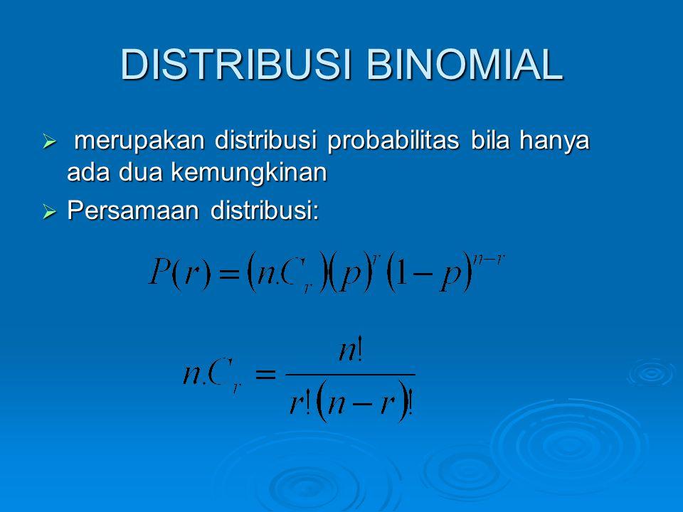DISTRIBUSI BINOMIAL merupakan distribusi probabilitas bila hanya ada dua kemungkinan.