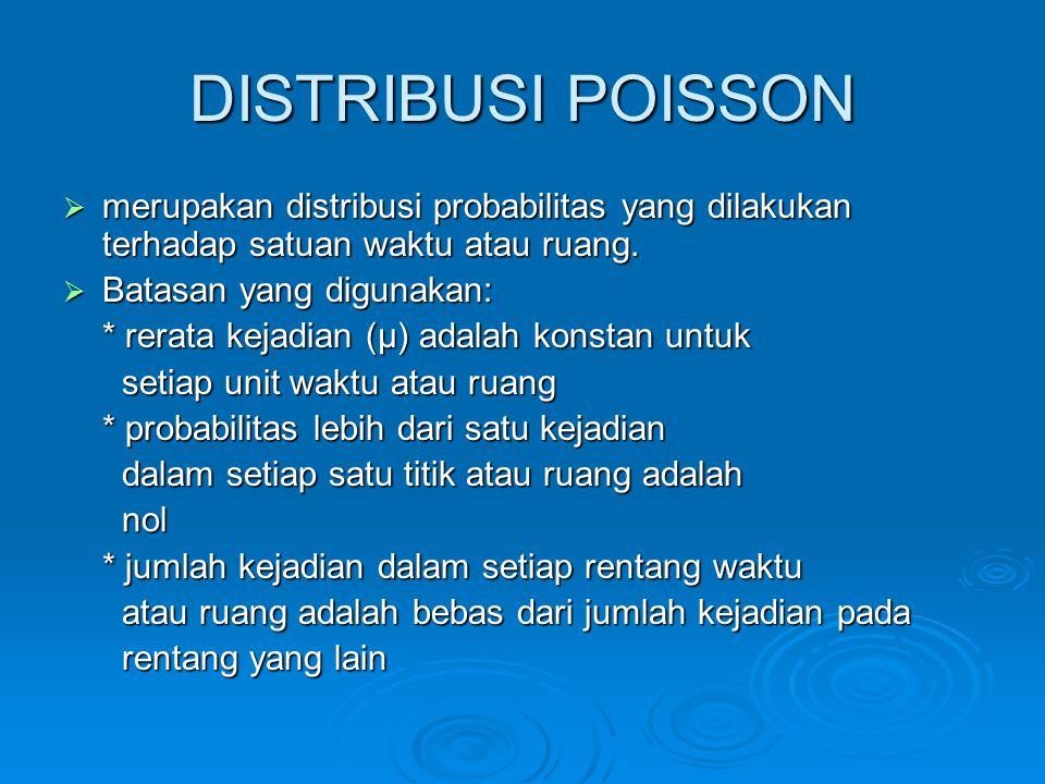 DISTRIBUSI POISSON merupakan distribusi probabilitas yang dilakukan terhadap satuan waktu atau ruang.