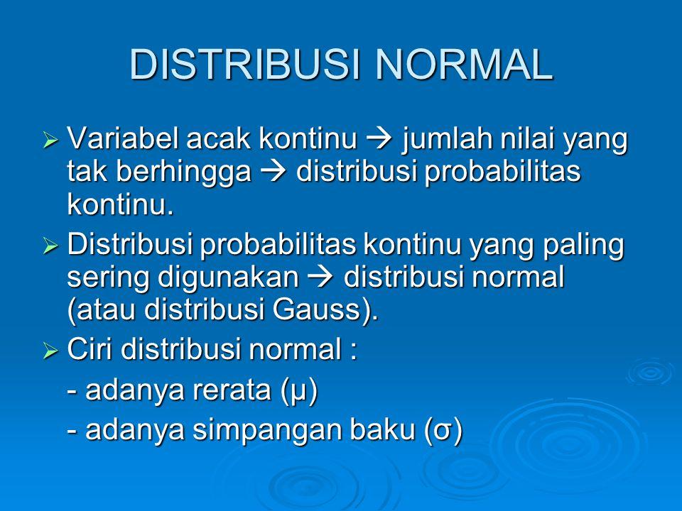 DISTRIBUSI NORMAL Variabel acak kontinu  jumlah nilai yang tak berhingga  distribusi probabilitas kontinu.