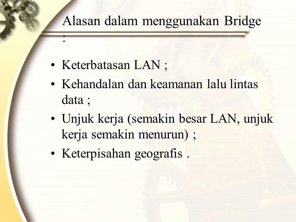 Alasan dalam menggunakan Bridge :
