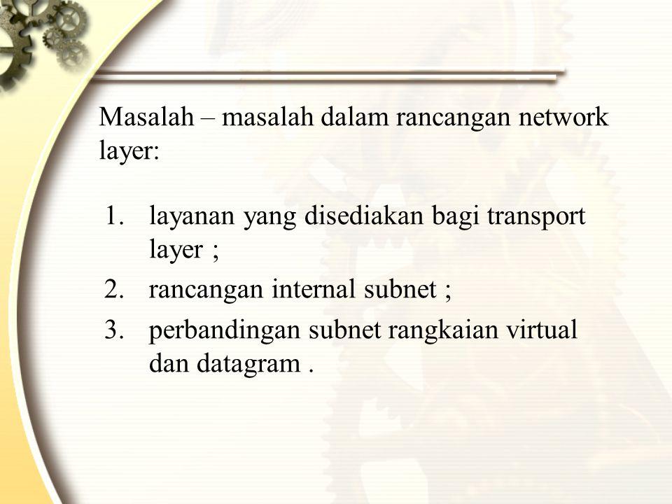 Masalah – masalah dalam rancangan network layer: