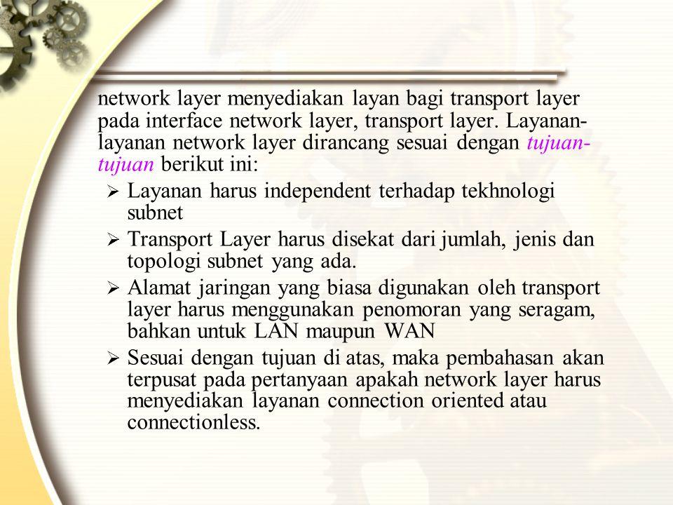 network layer menyediakan layan bagi transport layer pada interface network layer, transport layer. Layanan- layanan network layer dirancang sesuai dengan tujuan-tujuan berikut ini: