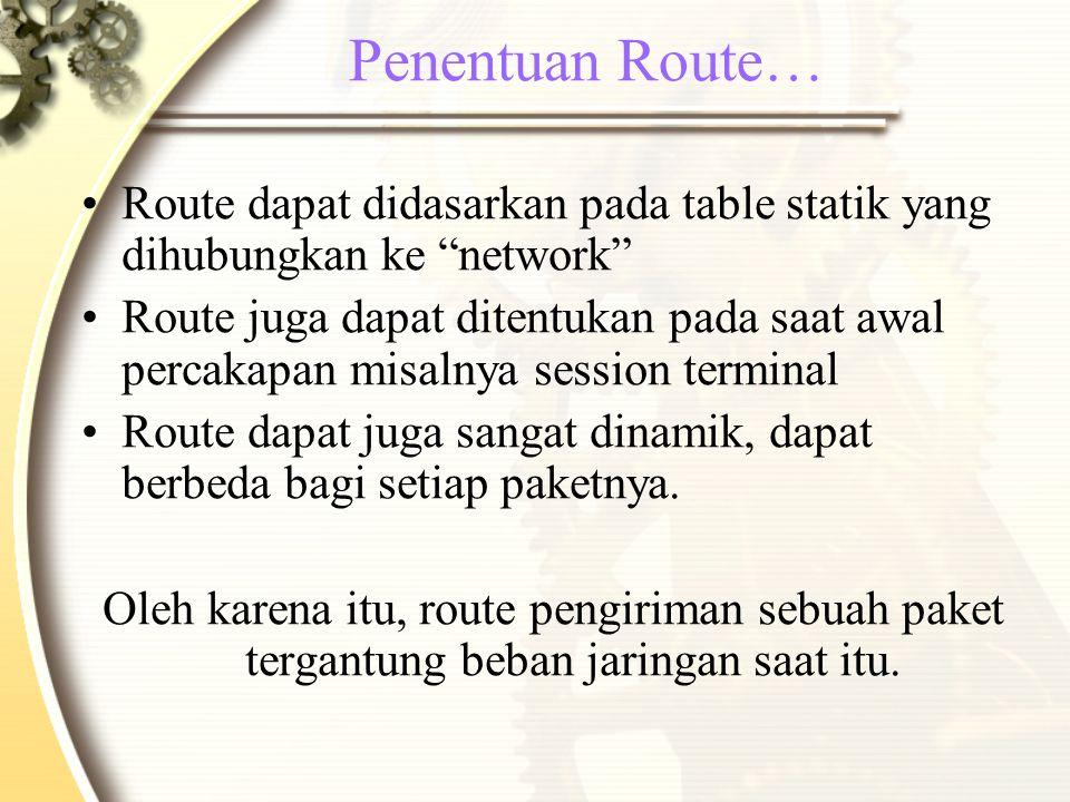 Penentuan Route… Route dapat didasarkan pada table statik yang dihubungkan ke network