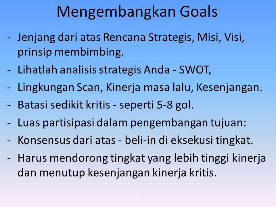 Mengembangkan Goals Jenjang dari atas Rencana Strategis, Misi, Visi, prinsip membimbing. Lihatlah analisis strategis Anda - SWOT,
