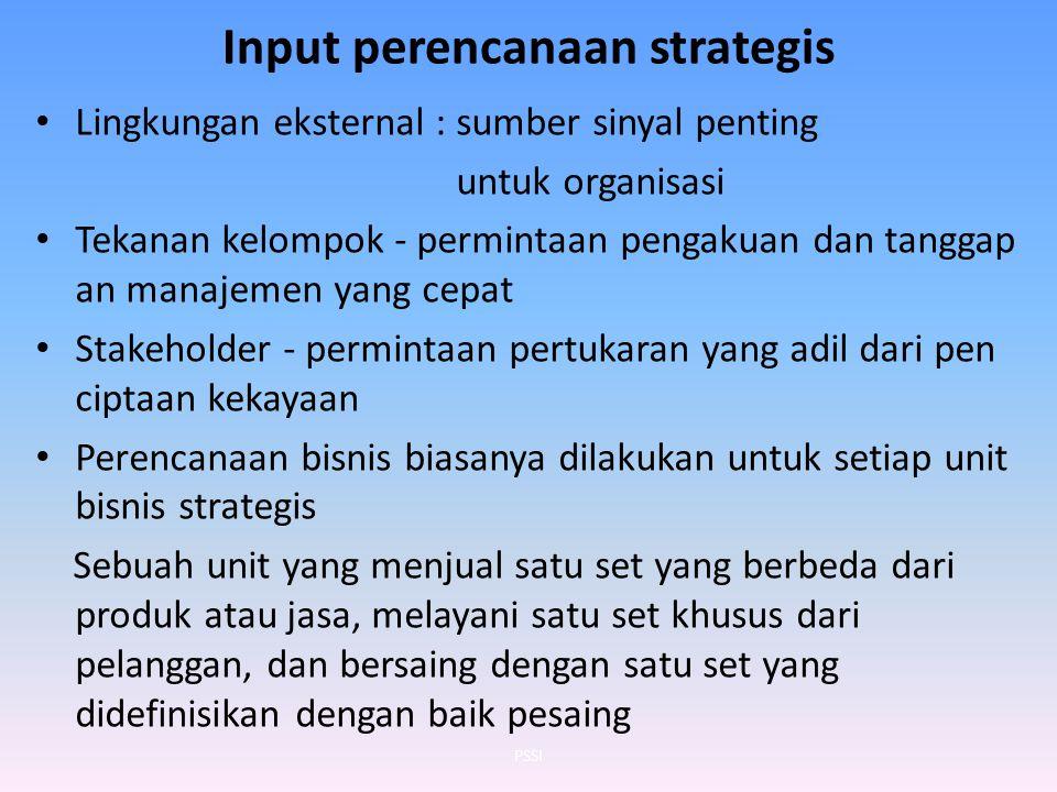 Input perencanaan strategis