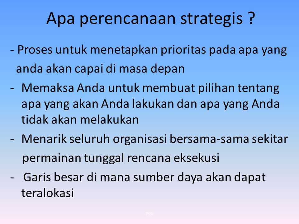 Apa perencanaan strategis