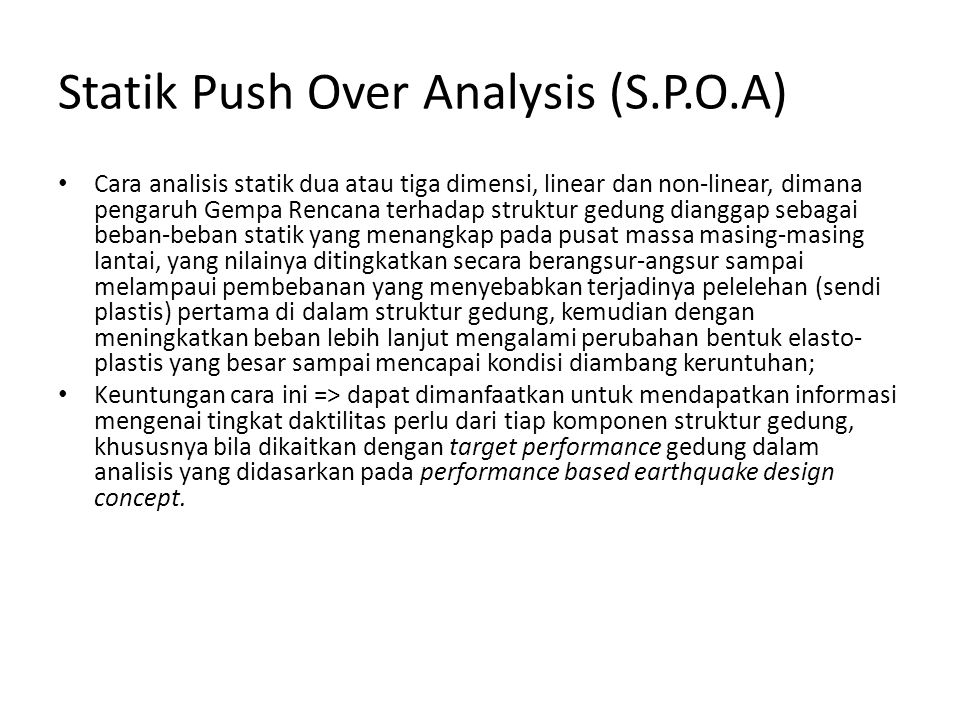 Statik Push Over Analysis (S.P.O.A)