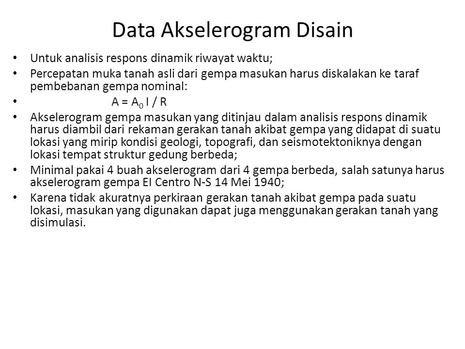 Data Akselerogram Disain