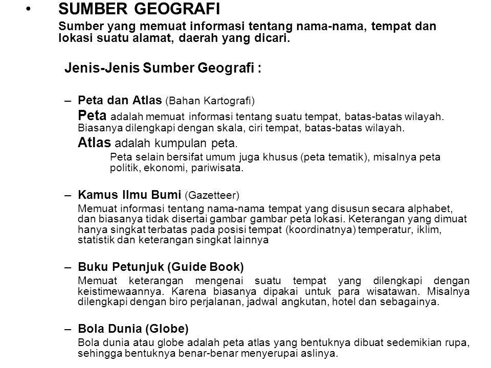 SUMBER GEOGRAFI Jenis-Jenis Sumber Geografi :