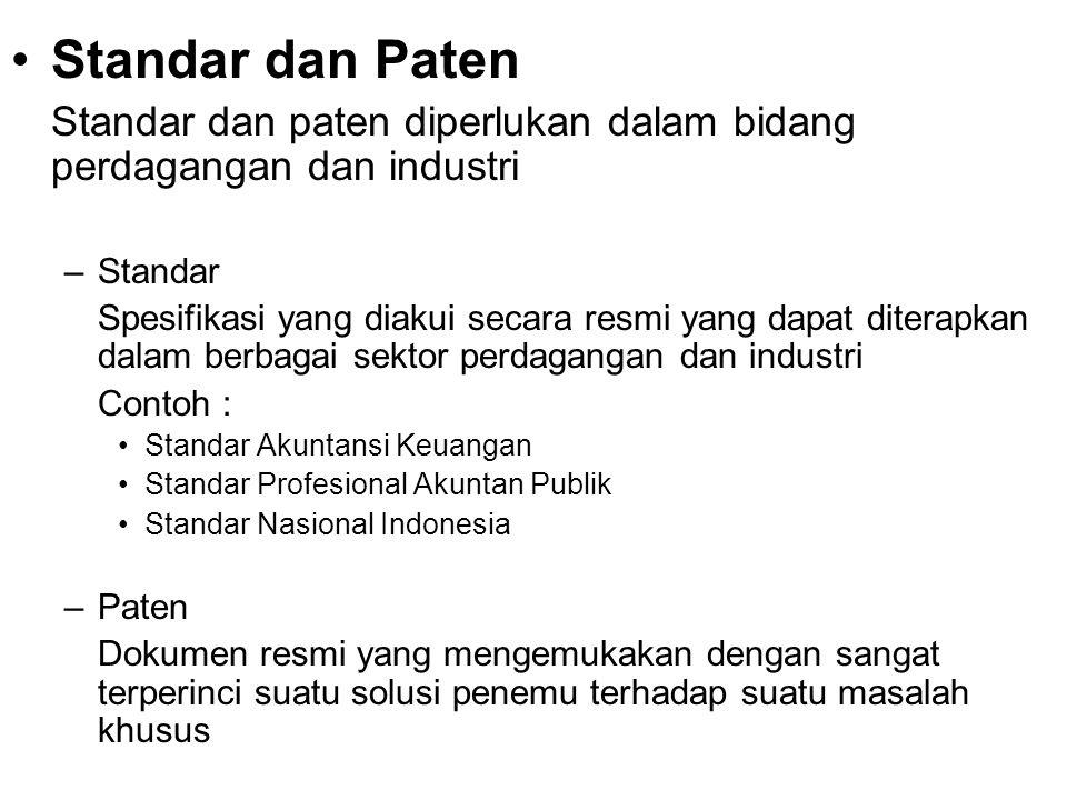 Standar dan Paten Standar dan paten diperlukan dalam bidang perdagangan dan industri. Standar.