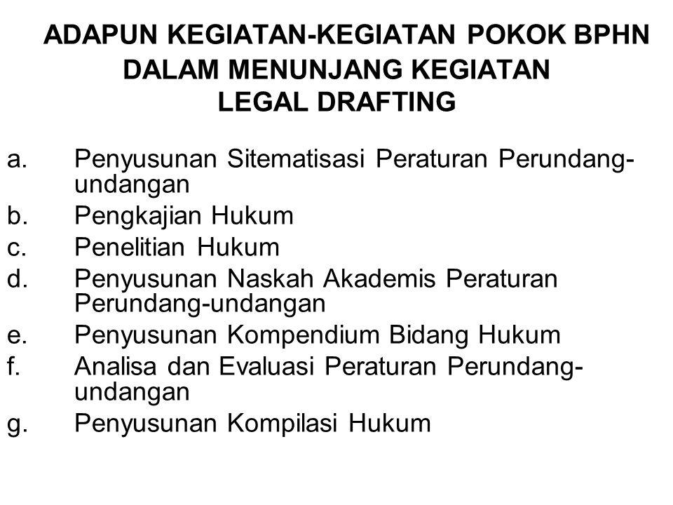 ADAPUN KEGIATAN-KEGIATAN POKOK BPHN DALAM MENUNJANG KEGIATAN LEGAL DRAFTING