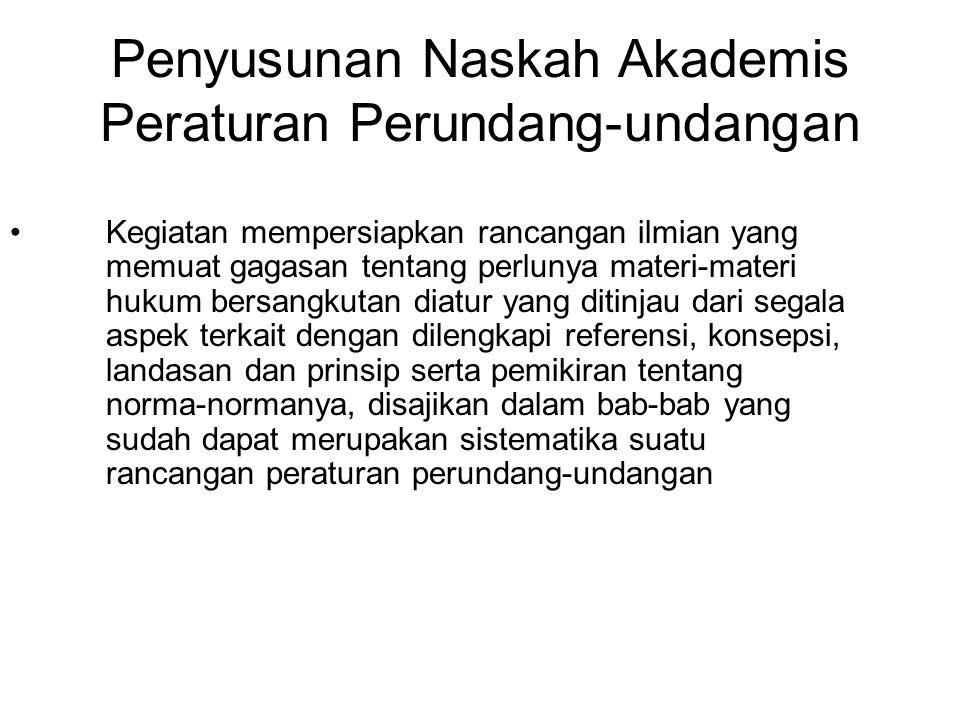 Penyusunan Naskah Akademis Peraturan Perundang-undangan