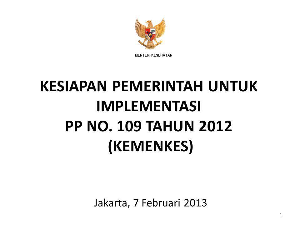 MENTERI KESEHATAN KESIAPAN PEMERINTAH UNTUK IMPLEMENTASI PP NO. 109 TAHUN 2012 (KEMENKES) Assalamu'alaikum Warahmatullaahi Wabarakatuh.