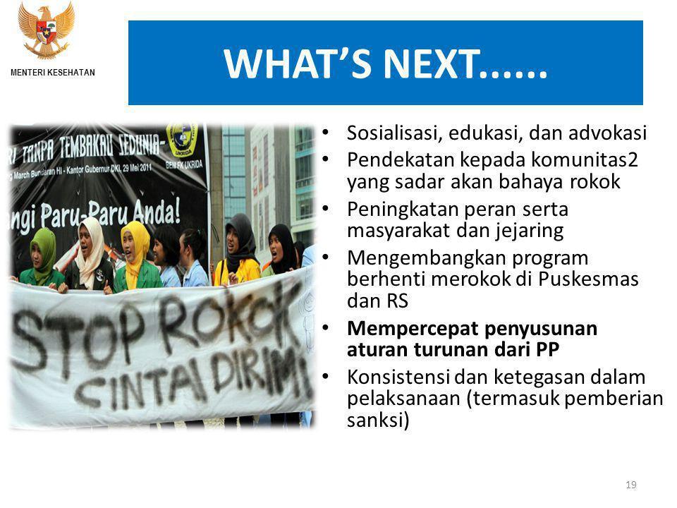 WHAT'S NEXT...... Sosialisasi, edukasi, dan advokasi