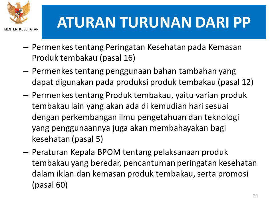 MENTERI KESEHATAN ATURAN TURUNAN DARI PP. Permenkes tentang Peringatan Kesehatan pada Kemasan Produk tembakau (pasal 16)