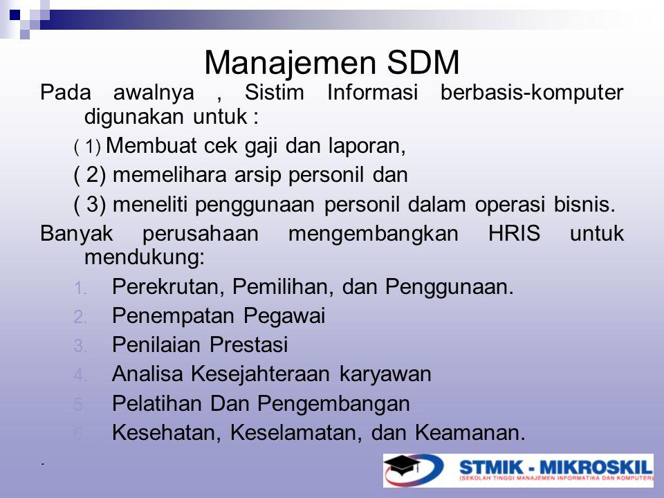 Manajemen SDM Pada awalnya , Sistim Informasi berbasis-komputer digunakan untuk : ( 1) Membuat cek gaji dan laporan,
