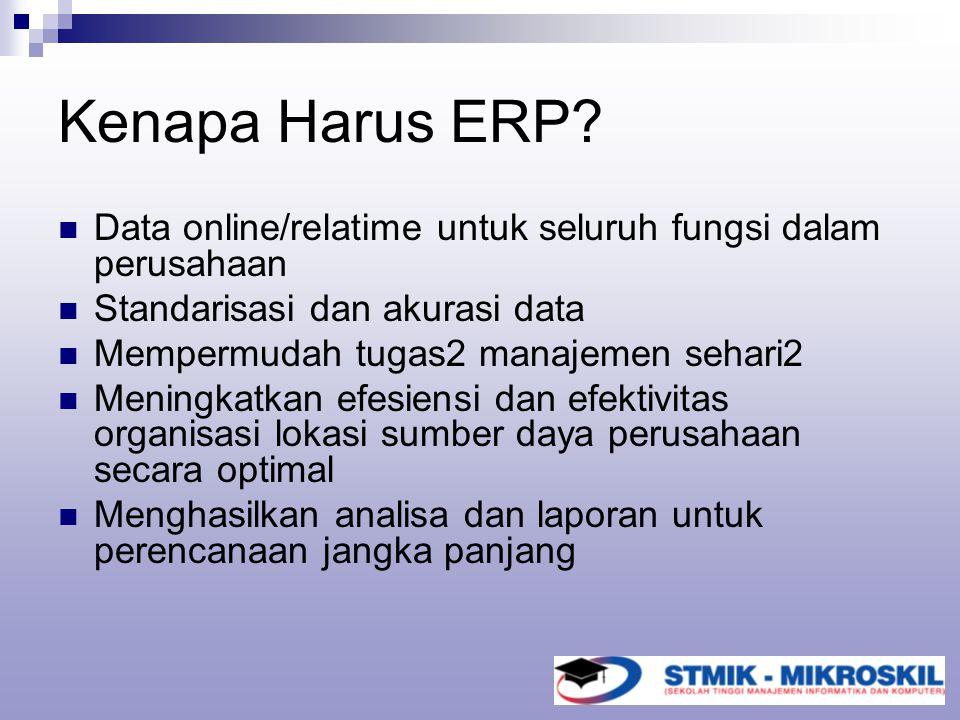 Kenapa Harus ERP Data online/relatime untuk seluruh fungsi dalam perusahaan. Standarisasi dan akurasi data.