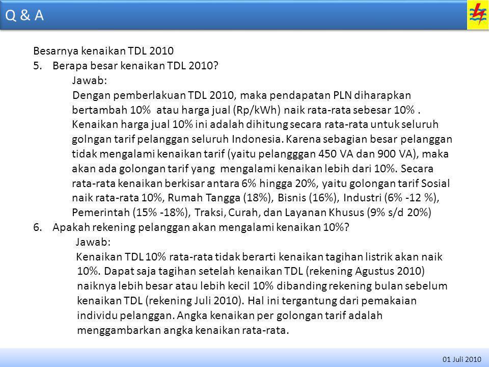 Q & A Besarnya kenaikan TDL 2010 Berapa besar kenaikan TDL 2010