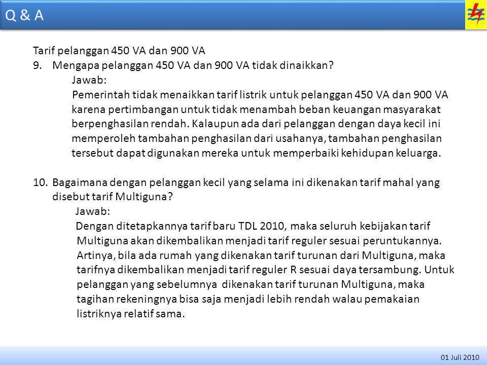 Q & A Tarif pelanggan 450 VA dan 900 VA