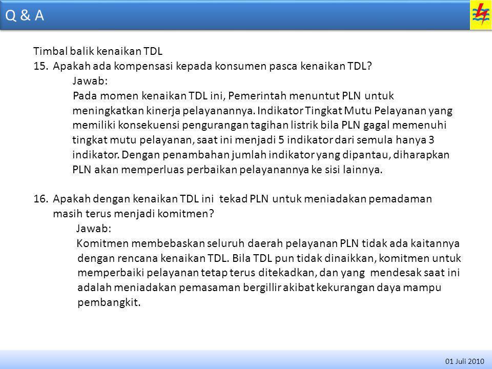 Q & A Timbal balik kenaikan TDL