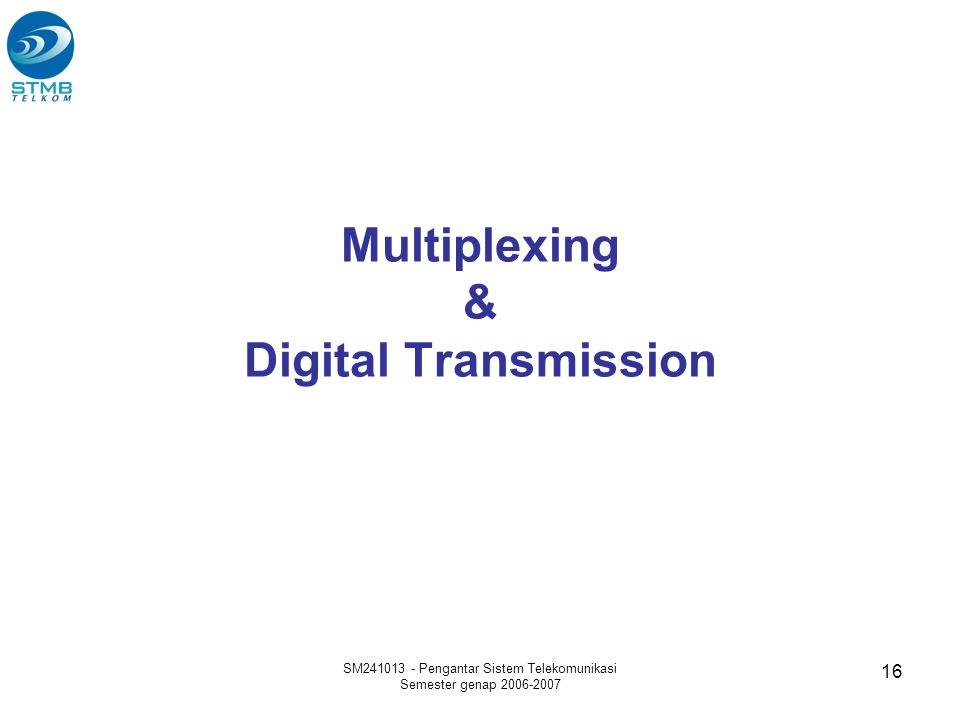 Multiplexing & Digital Transmission