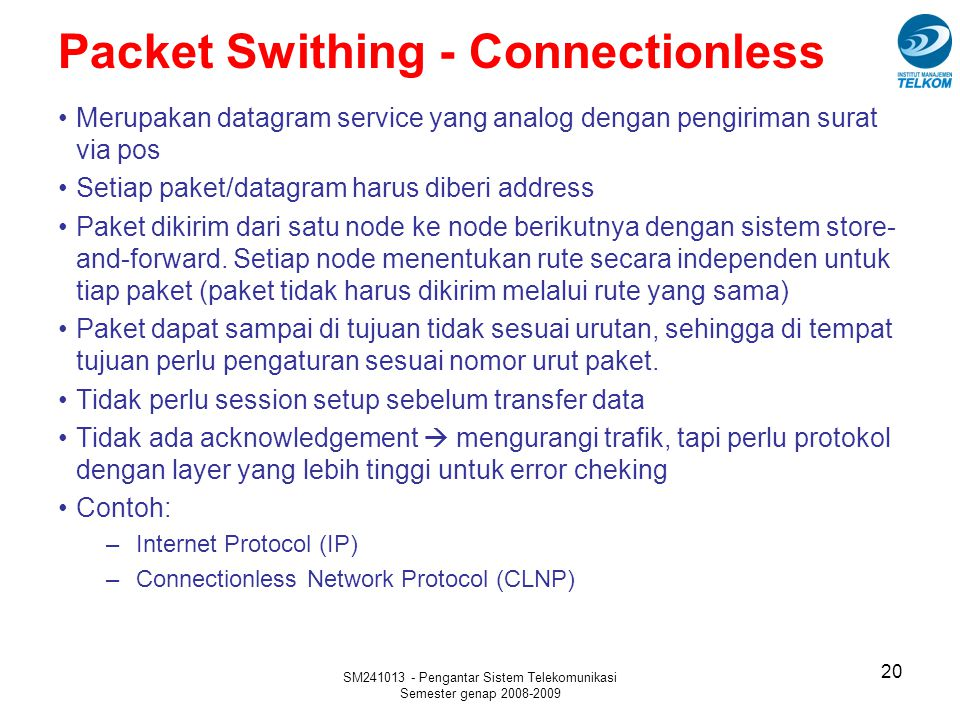 Packet Swithing - Connectionless