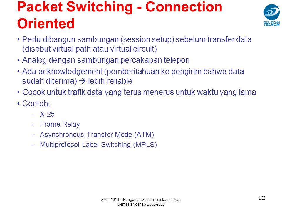 Packet Switching - Connection Oriented