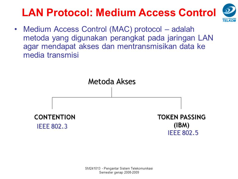 LAN Protocol: Medium Access Control